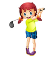 A cute little girl playing golf vector image