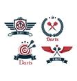 Darts emblems set vector image