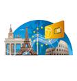 european mobile service vector image vector image