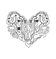 Circuit board heart icon Technology design vector image