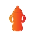 Baby bottle sign Orange applique isolated vector image