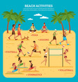beach activities infographics vector image