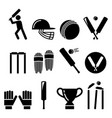 cricket bat man playing cricket equipment vector image