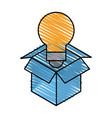 isolated light bulb inside box design vector image