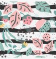 seamless pattern with plants and strawberry vector image