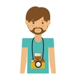 hipster man with photographic camera vector image