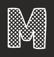 M alphabet letter with white polka dots on black vector image