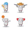 set of flashdisk character with baseball cowboy vector image