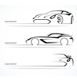 Set of abstract linear car silhouettes vector image