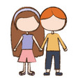blurred colorful faceless couple kids in casual vector image