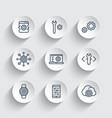 development engineering setting line icons set vector image