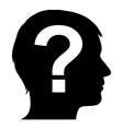Male silhouette with question mark vector image