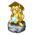 golden figurine of wise monkey with a star vector image
