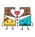 cute kawaii chocolate couple valentine concept vector image vector image