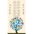 2014 Globe Tree Calendar vector image