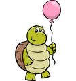 turtle with balloon cartoon vector image vector image