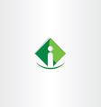 green letter i icon logo business symbol vector image