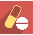 Medication Flat Longshadow Square Icon vector image