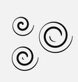three circular spirals of different sizes vector image