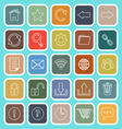 Tool bar line flat icons on blue background vector image