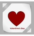 Valentines Day paper sticker with red heart vector image