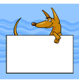 cartoon dog with board or card vector image vector image