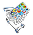 phone in shopping cart vector image vector image