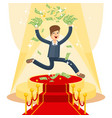 Businessman on red carpet vector image