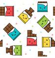 kawaii cute chocolate colorful seamless pattern vector image vector image