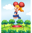 A cheerdancer holding her red pompoms above the vector image