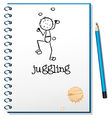 A notebook with a person juggling at the cover vector image