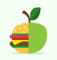 hamburger and apple halves vector image