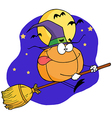 Cartoon Character Pumkin Riding A Broom vector image vector image