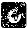 Globe earth with pointer marks icon grunge style vector image