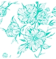 graphic seamless background with peony flowers vector image
