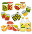 preserved food in jars and bottles collection on vector image