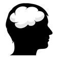 Male silhouette with brain vector image vector image