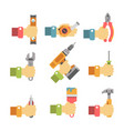 hands holding maintenance tools vector image