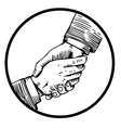 Helping hand engraving vector image