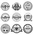 set of vintage craft beer labels badges vector image