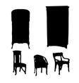art nouveau furniture silhouettes vector image