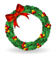 christmas holly wreath vector image vector image