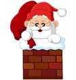 cartoon santa claus in chimney vector image