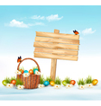 Happy Easter background Easter eggs and wooden vector image vector image