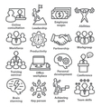 Business management icons in line style Pack 11 vector image