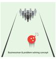 Businessman pins symbol and bowling ball sign vector image