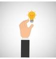 hand hold icon bulb idea design flat isolated vector image