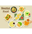 Italian and chinese cuisine icon for food design vector image
