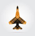 orange black tartan isolated icon - fighter vector image