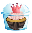 A cupcake with a crown inside the disposable vector image